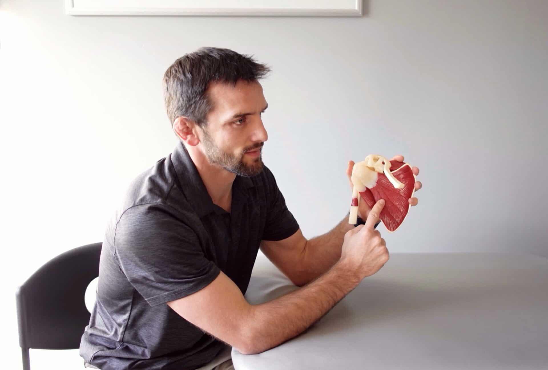 Doctor Matt Gentry explaining the rotator cuff muscle anatomy.